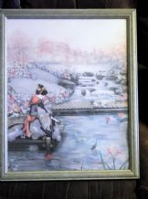 "LARGE WOODEN FRAMED SMITH PRINT ORIENTAL LADY BY KOI CARP BROOK 22"" X 18"""